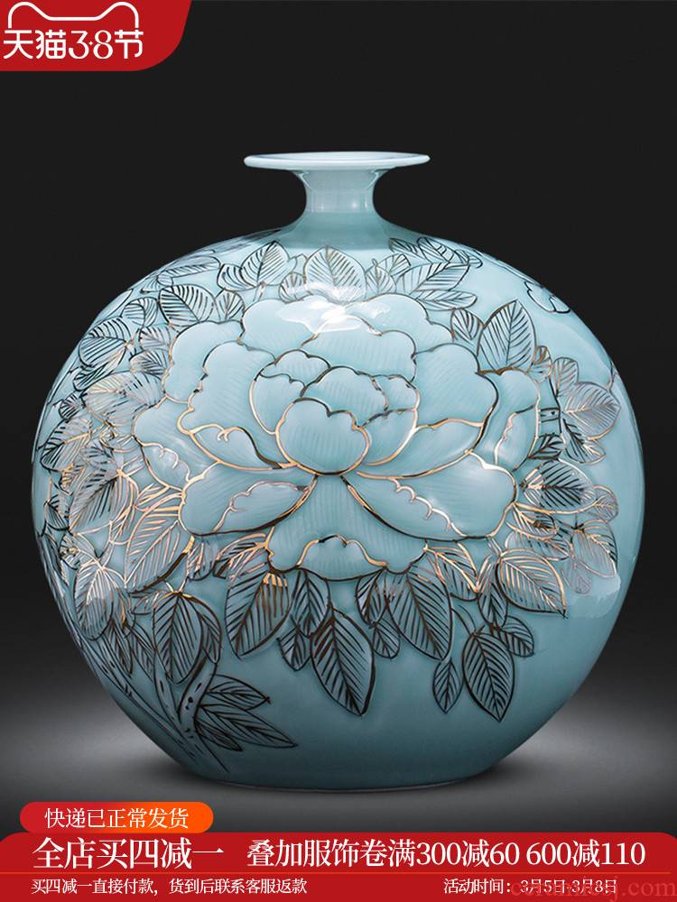The Master of jingdezhen ceramics vase hand - made shadow blue paint pomegranate bottles of Chinese style living room decoration office furnishing articles