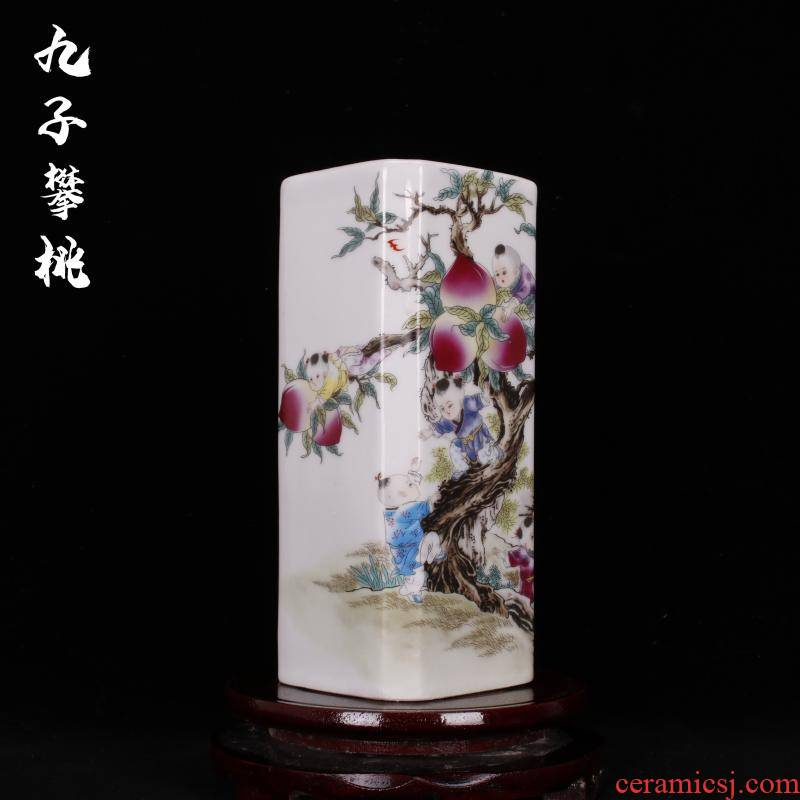 Archaize of jingdezhen porcelain porcelain industry of overall province of the republic of China company pen container antique household decoration as furnishing articles