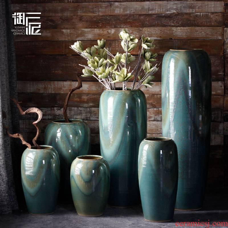 Jingdezhen ceramic vase landing I and contracted sitting room simulation flower flower arranging furnishing articles large European porch decoration