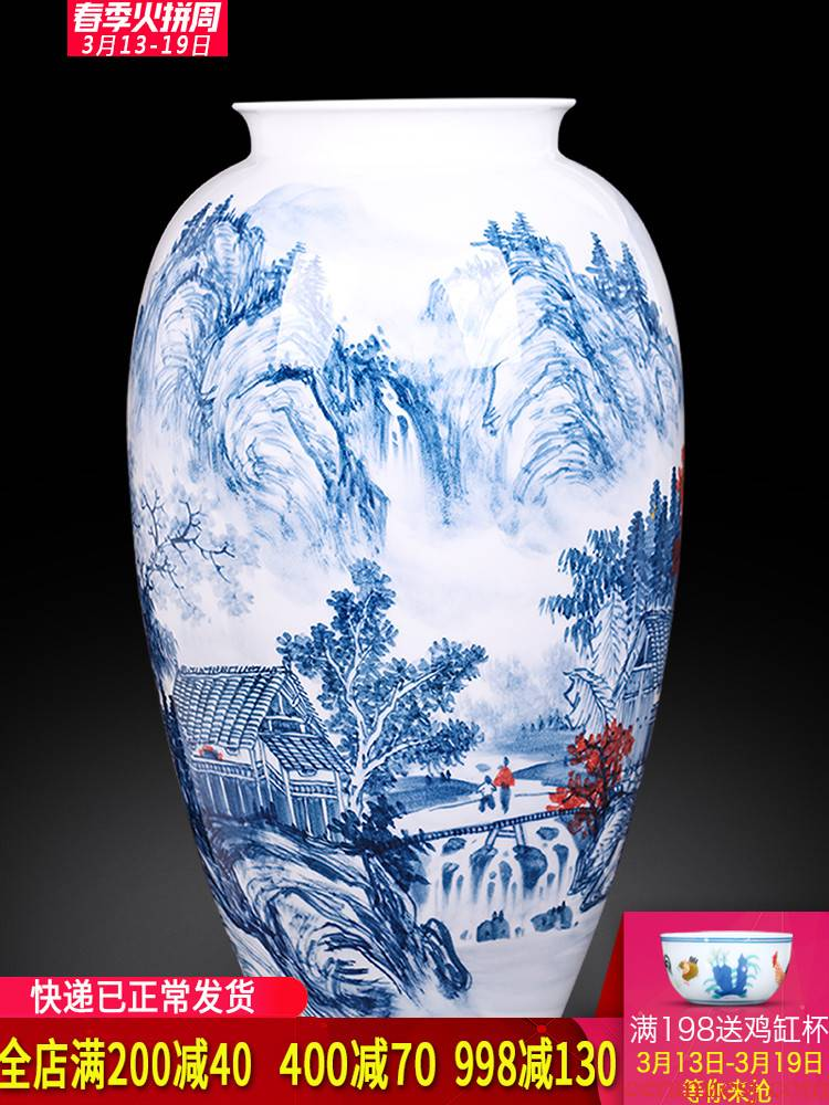 Jingdezhen ceramics master hand made blue and white porcelain vases, flower arrangement of the sitting room porch decoration of the new Chinese style furnishing articles