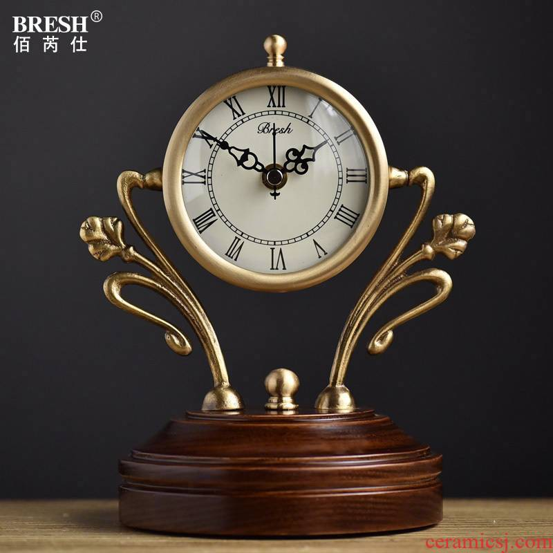 American table clock creative cooper real wood desk clock sitting room quiet quartz clock move fashion clock