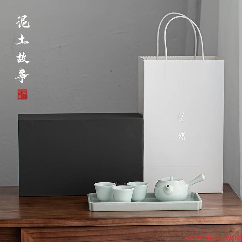 Earth story shadow was black ceramic dry tea pot set of three cups of tea tray plate of kung fu tea set the whole suit