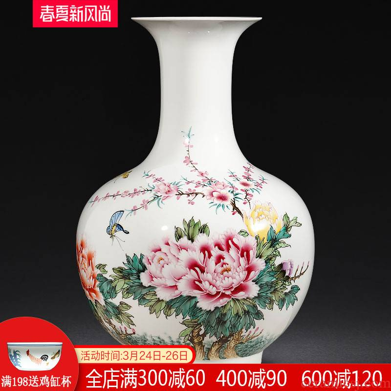 Jingdezhen ceramics by hand draw pastel vases, flower arranging large Chinese office sitting room adornment is placed