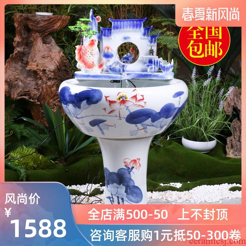 Jingdezhen ceramics pillar landing fish king goldfish bowl lotus basin brocade carp cylinder tortoise