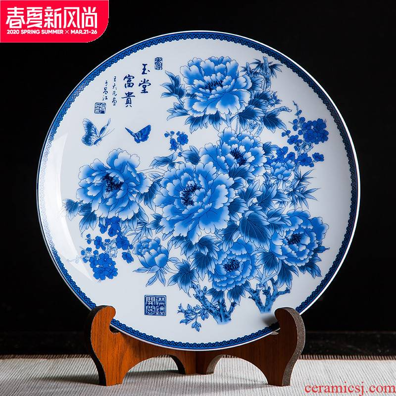 Jingdezhen ceramics classical Ming and the qing dynasties sit ten inches of blue and white decoration hanging dish plate home rich ancient frame handicraft furnishing articles