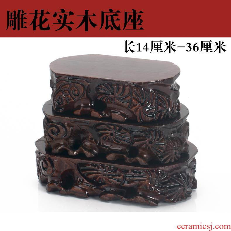 Solid wood base stone, jade statues are it bonsai flower bottle carved on mount taishan stone irregular oval