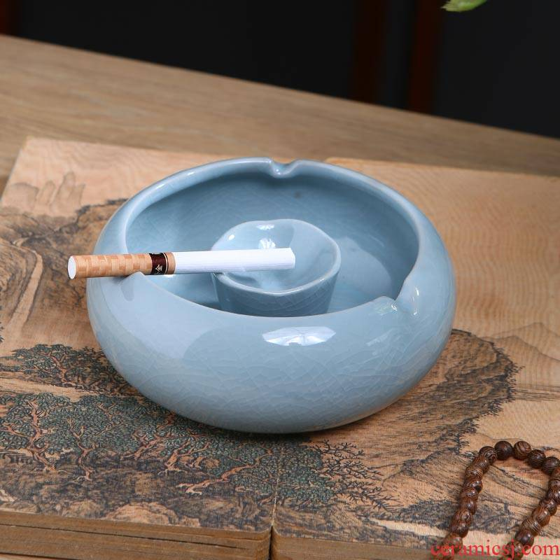 Chinese jingdezhen ceramics creative home sitting room office furnishing articles crack windproof tea table ashtray ornaments