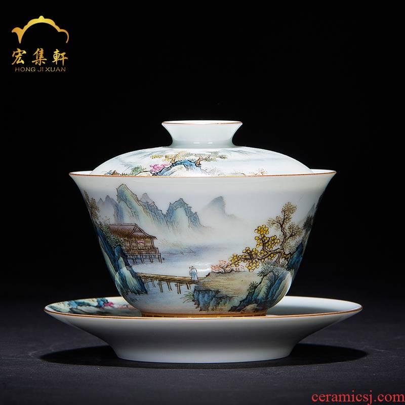 Tureen tea cup three cup of jingdezhen tea service only hand - made pastel paint landscape bowl tea kunfu tea Tureen