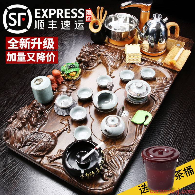 Violet arenaceous kung fu tea set suit household contracted automatic induction cooker solid wood tea tray teapot teacup set