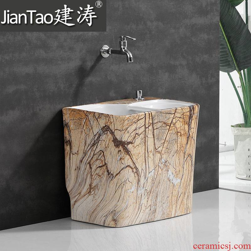 Ceramic mop pool washing tower dragged slot home land bucket sink basin to wash the mop pool balcony mop pool table control in the water