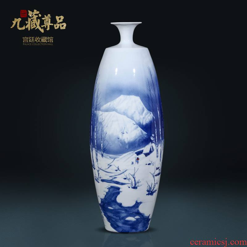 The Master of jingdezhen ceramics hand - made snow of blue and white porcelain vase Chinese style living room TV cabinet decorative furnishing articles arranging flowers
