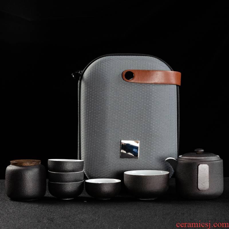 NiuRen is suing travel tea set suit portable bag, black pottery crack cup with the teapot tea cup custom logo
