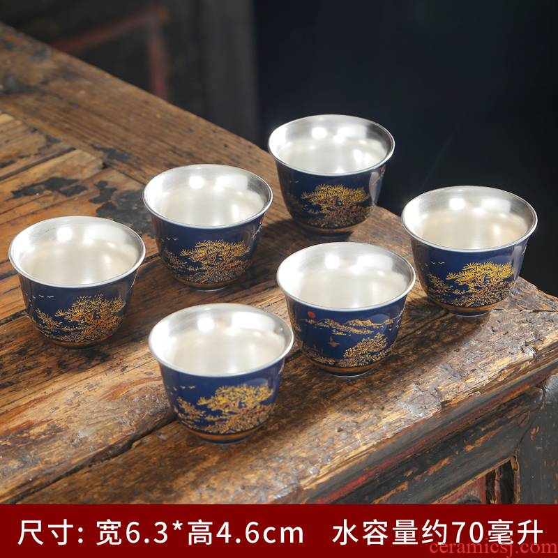 Ji blue glaze see colour enamel cups around branch lotus masters cup large kung fu tea bowls of jingdezhen ceramic cups