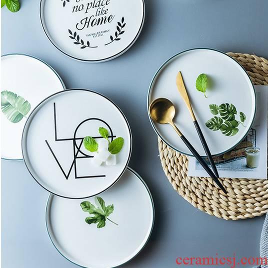 "Love graces household practical rural wind ins ceramic disc 8 ""American green plant words steak"