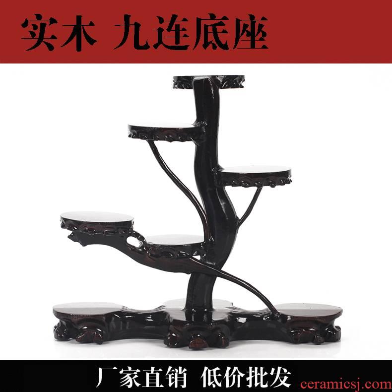 Jingdezhen vase tea wood gendiao nine step height circular vase base seat