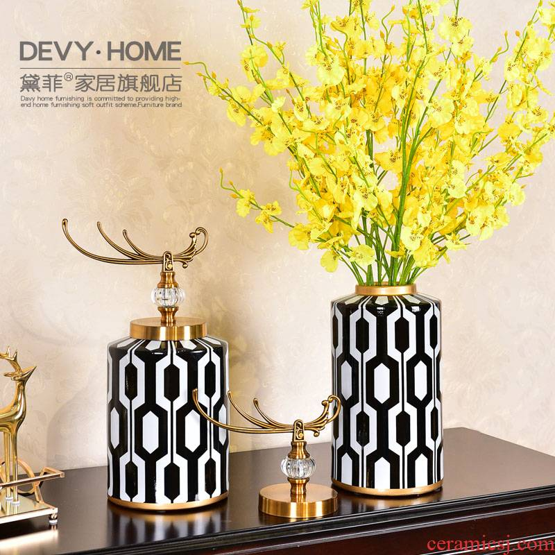 Postmodern American light key-2 luxury ceramic vase furnishing articles European sitting room porch simulation flower art flower arranging home decoration