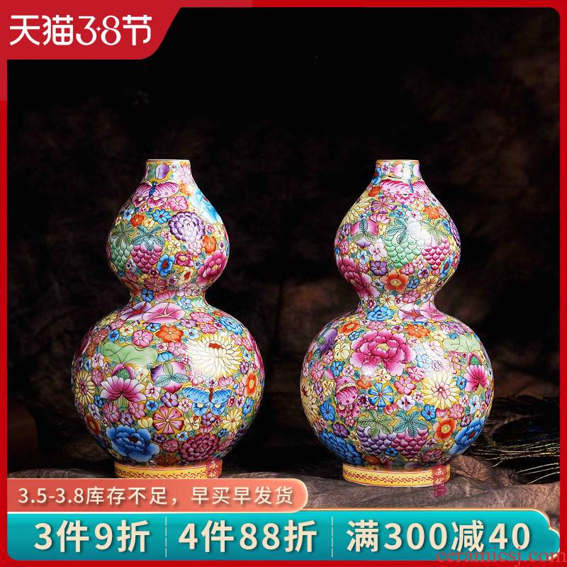 Jingdezhen ceramics hand - made archaize colored enamel flower gourd vases, Chinese arts and crafts home furnishing articles in the living room