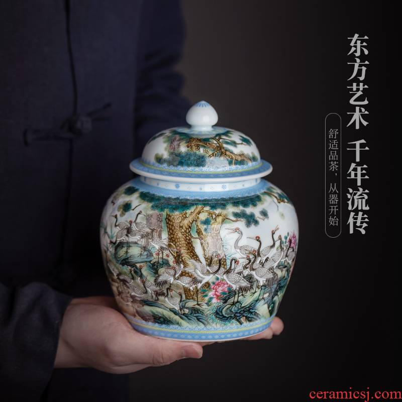 Jingdezhen ceramic all hand - made seiko best crane graph caddy fixings Chinese style household furnishing articles collection process tea storehouse