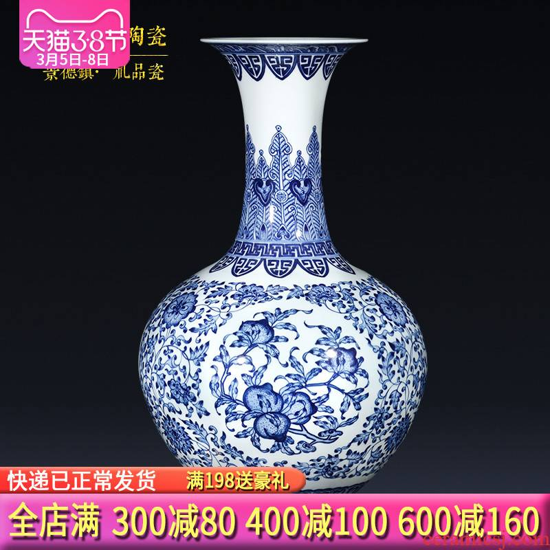 Jingdezhen porcelain qianlong hand - made of blue and white porcelain vases, flower arranging place of the sitting room porch decoration of the new Chinese style