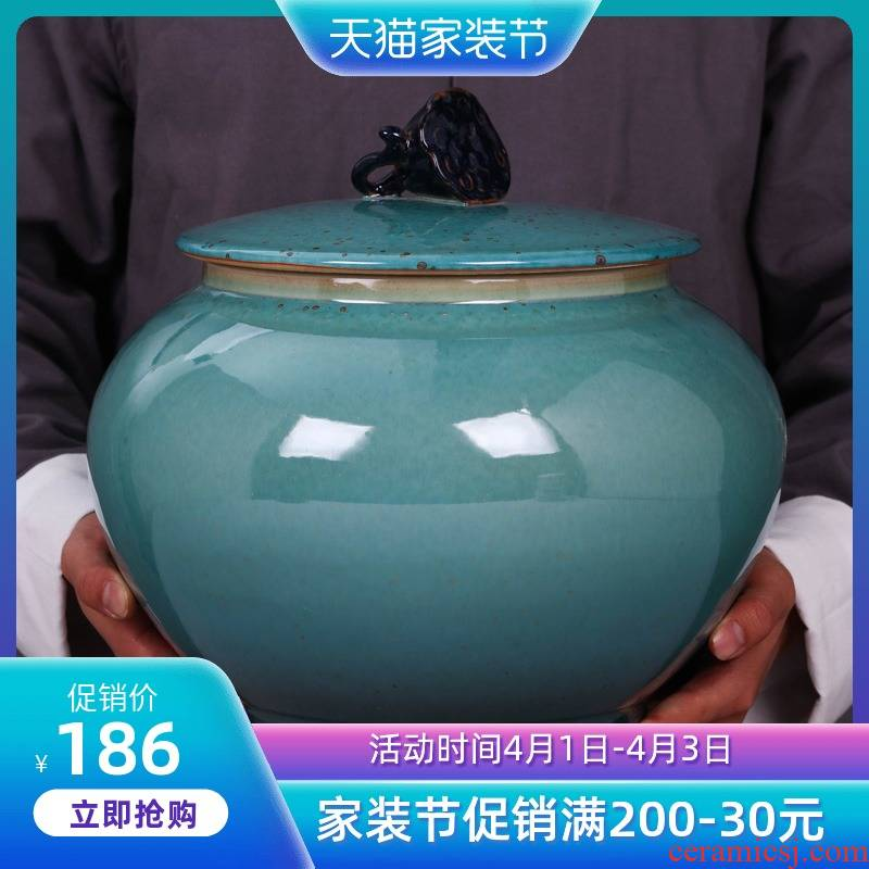 Jingdezhen ceramic tea sealed as cans gm caddy fixings large - sized puer tea cake tin with storage tank tea urn