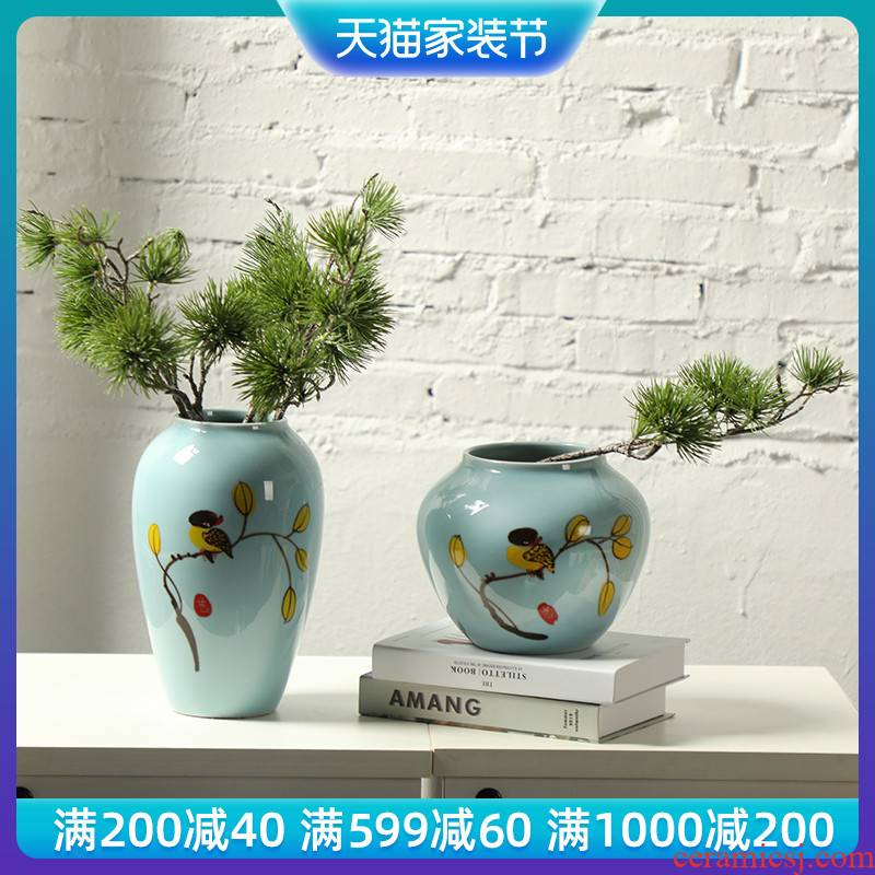 Jingdezhen creative modern new Chinese style ceramic vase, the sitting room TV wine porch home furnishing articles