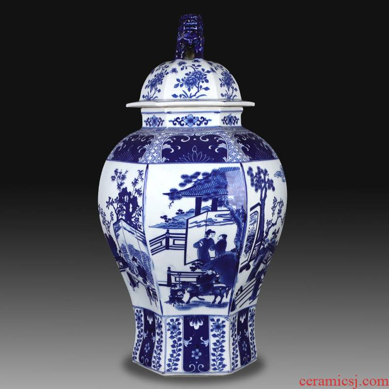 Antique Chinese jingdezhen ceramics general jar of blue and white porcelain vase, the sitting room porch TV ark to restore ancient ways furnishing articles