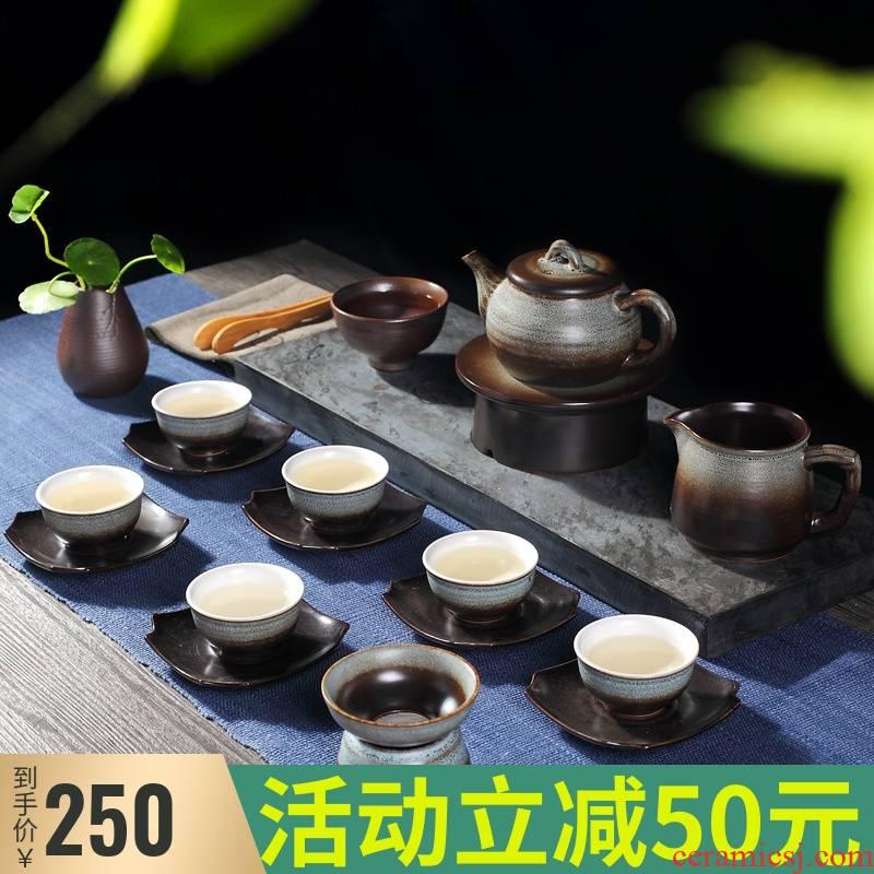 Tea set to restore ancient ways household jingdezhen ceramic retro kung fu Tea pot office high - grade gift boxes
