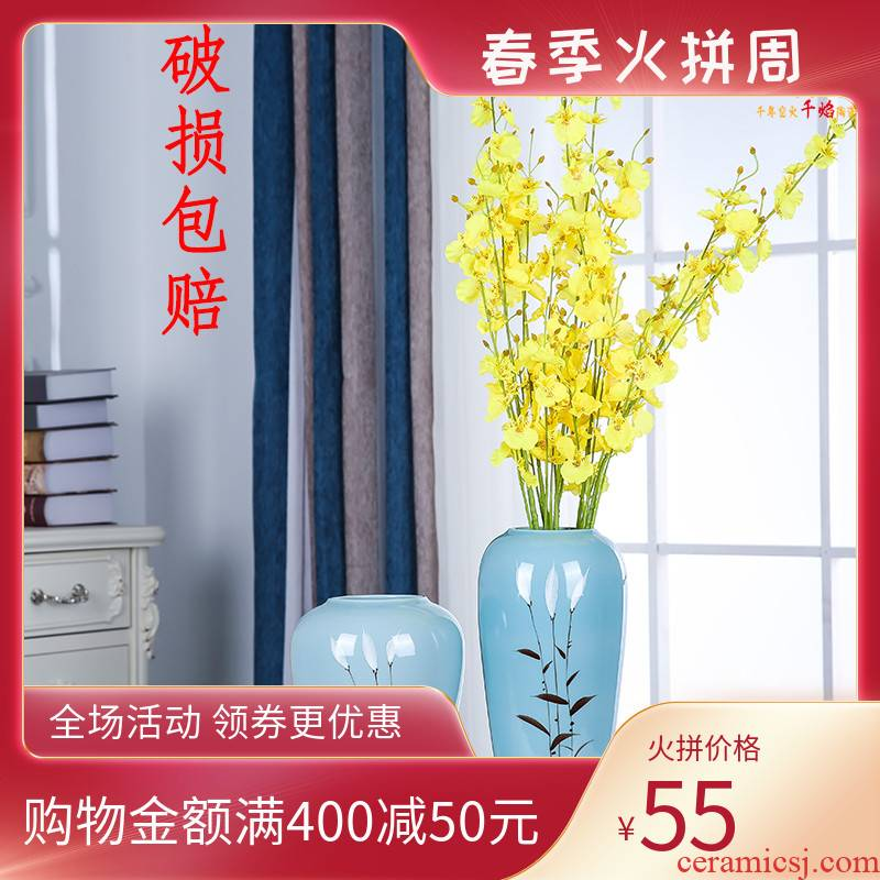 Jingdezhen ceramics vase Nordic hand - made flowers, dried flowers, European contracted flower arrangement sitting room adornment is placed