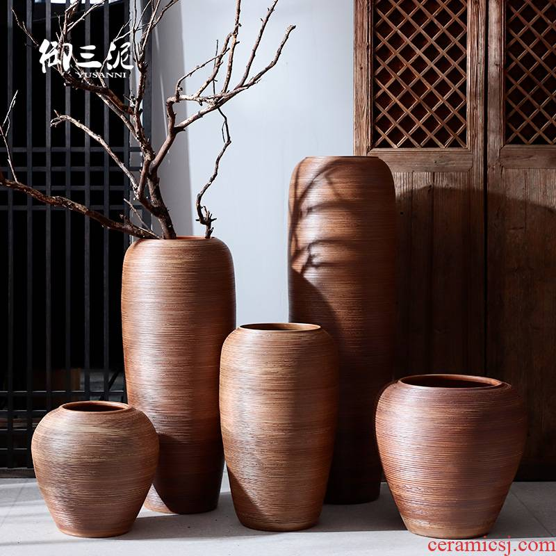 Jingdezhen I and contracted ceramic vases, flower arrangement sitting room place pottery aquarium ceramic cylinder landing large flower pot