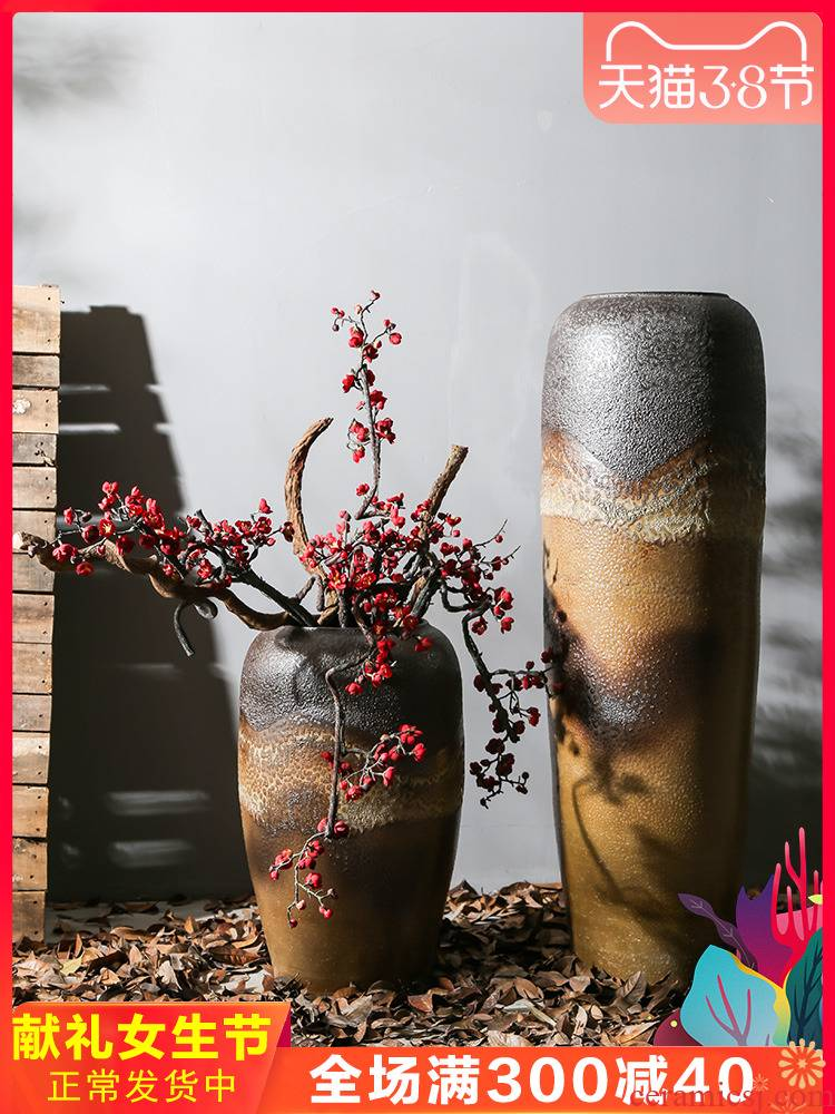 New Chinese style restoring ancient ways is coarse TaoHua device between example flower company in the hotel lobby sitting room club ceramic vase furnishing articles