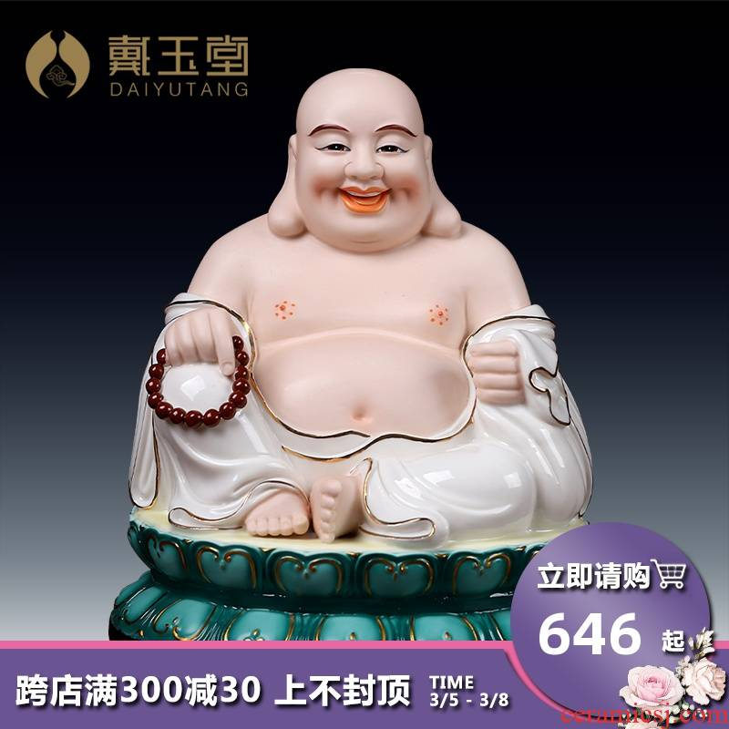 Yutang dai ceramic paint color smiling Buddha home home furnishing articles smiling Buddha sit full lotus and heavily coloured drawing or pattern