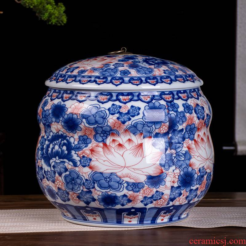 Jingdezhen ceramic barrel home 20 jins of 25 kg pack with cover flour barrels moistureproof insect - resistant ricer box sealing m as cans