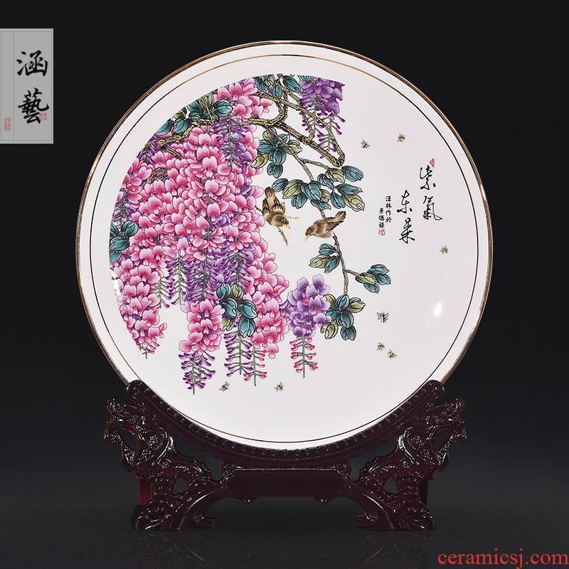 Jingdezhen ceramics powder enamel sabingga sukdun dergici jimbi decorate dish by dish hang dish of modern Chinese style household handicraft furnishing articles