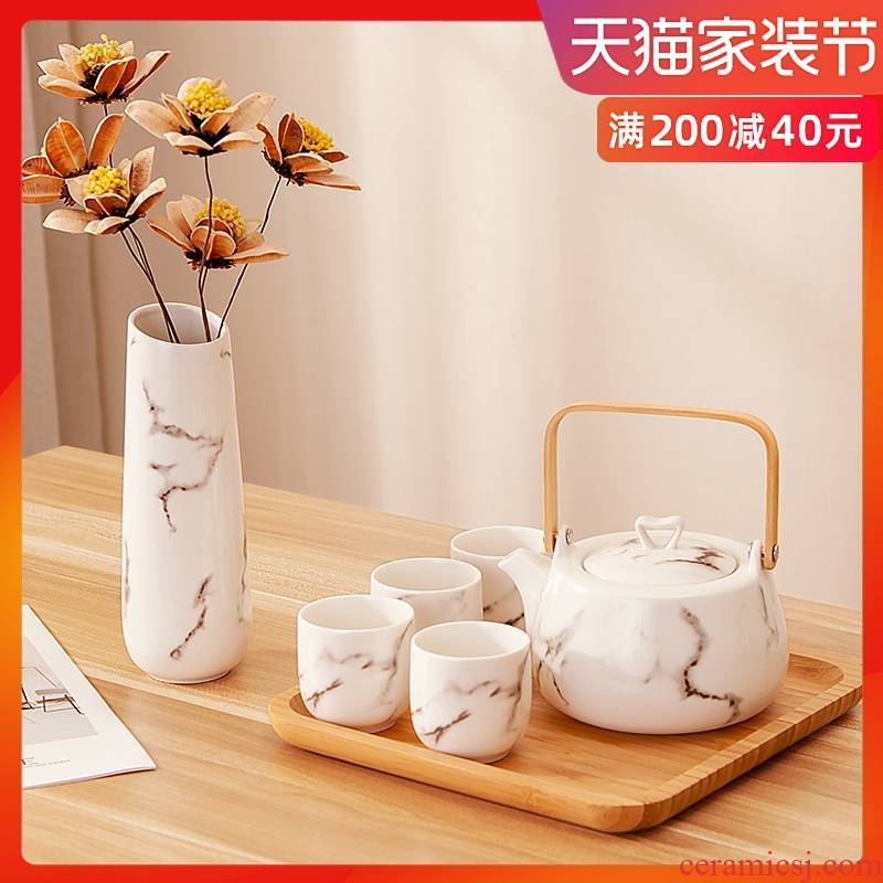 Japanese household kung fu tea sets suit ceramic water with the sitting room the teapot teacup kettle of water glass tea table