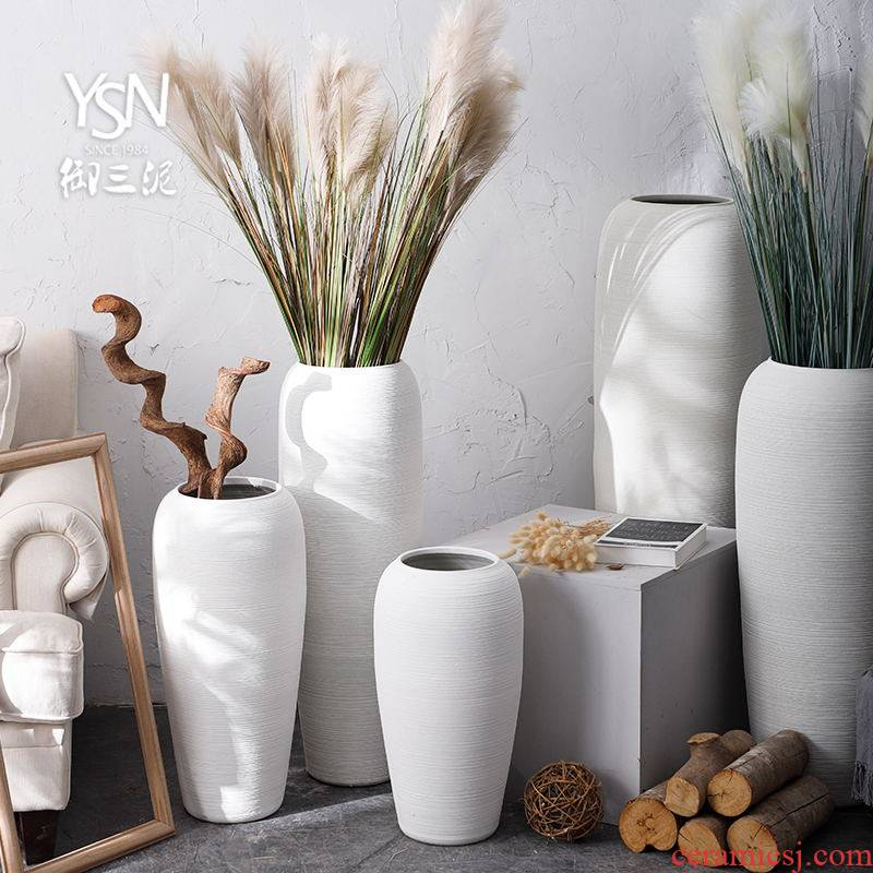 Be born pottery decorative furnishing articles I and contracted jingdezhen ceramic vase Nordic white flower arranging dried flowers, the sitting room