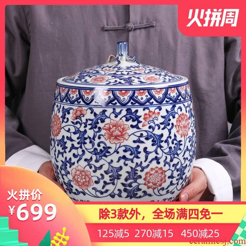 Jingdezhen ceramic tea cake caddy fixings large household wake receives porcelain POTS sealed tank storage tanks