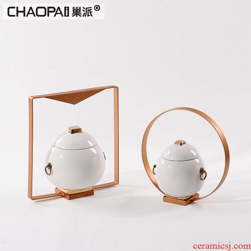 Nest light sent new Chinese style key-2 luxury gold ceramic pot furnishing articles sitting room partition screen wine storage tank soft decoration