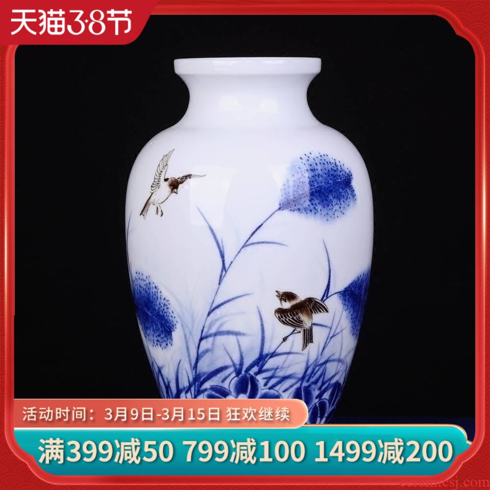 Jingdezhen ceramics thin foetus porcelain vase furnishing articles furnishing articles hand - made of blue and white porcelain painting of flowers and birds of new Chinese style living room decoration
