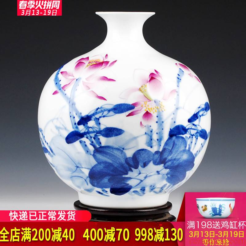 Jingdezhen ceramics celebrity hand - made master hu, vases, flower arranging Chinese style living room home decoration furnishing articles