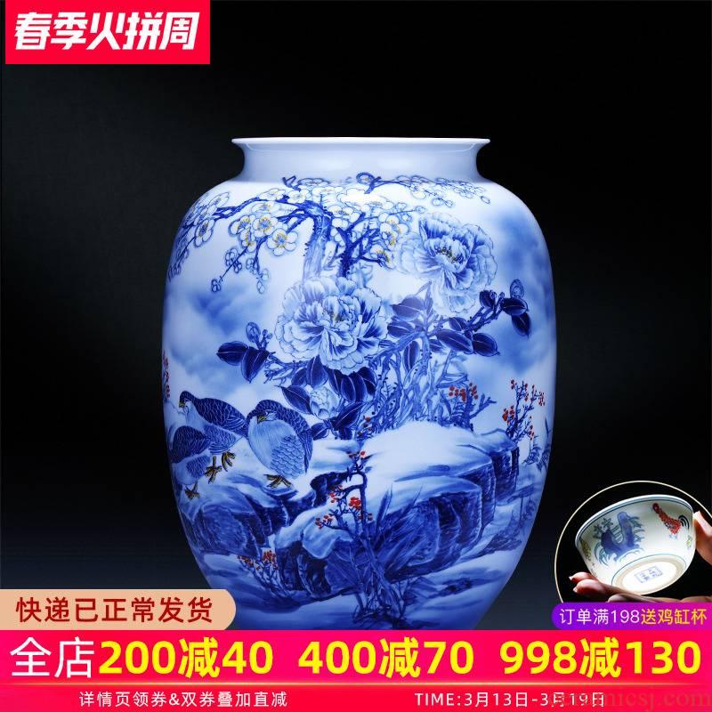 Jingdezhen ceramics hand - made large blue and white porcelain vase a snow harvest idea gourd bottle home furnishing articles