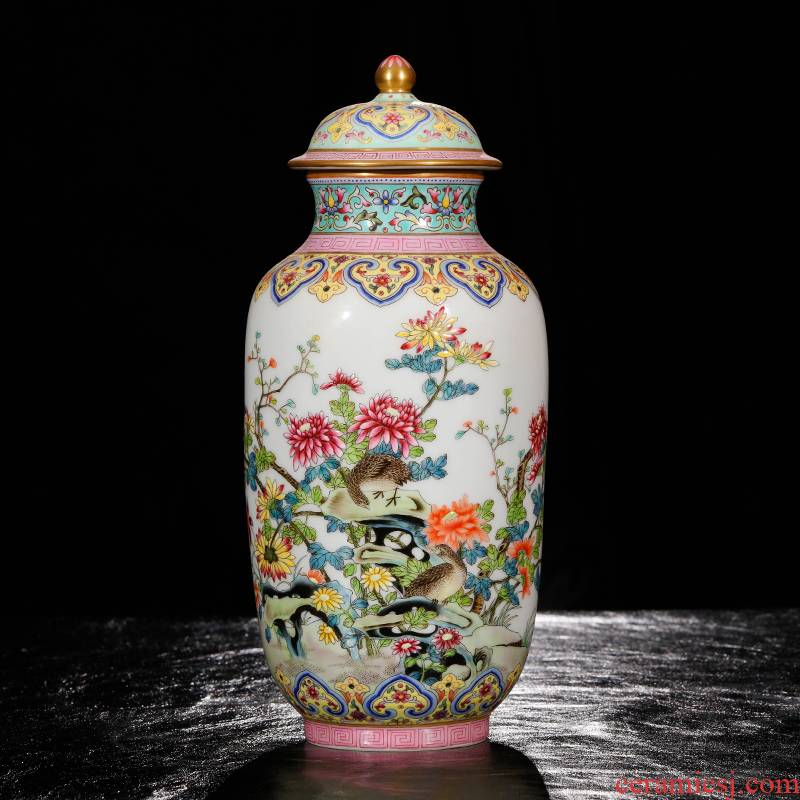 Yang Shiqi palace ceramic painting of flowers and cover pot and name
