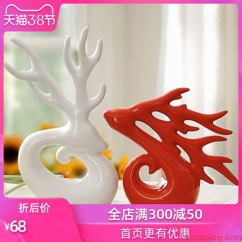 Creative household act the role ofing is tasted wedding gift ceramics handicraft furnishing articles sitting room adornment home decoration couples antlers