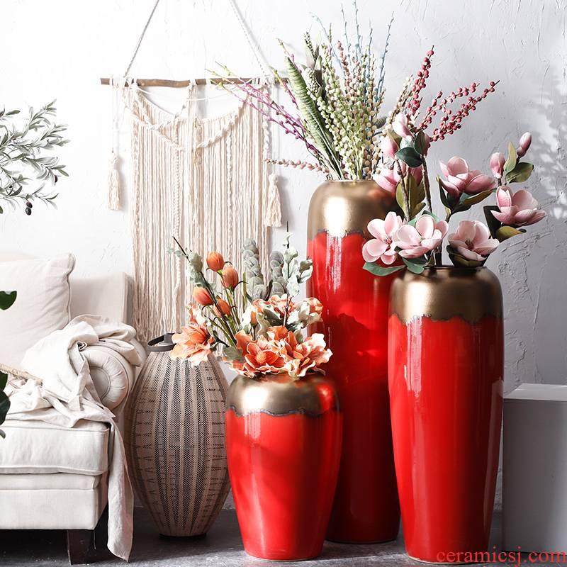 Ceramic vase simulation flower adornment big red wedding festival furnishing articles flower arrangement sitting room ground large porcelain decoration