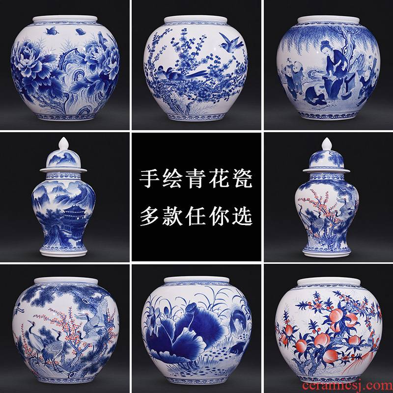 Jingdezhen ceramics hand - made of new Chinese style classic blue and white porcelain vase household adornment handicraft furnishing articles sitting room