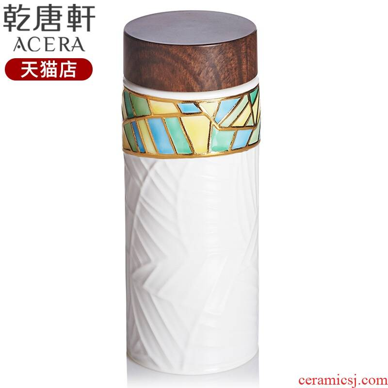 Do Tang Xuan porcelain he portable cup gold creative with cover portable ceramic water cup fashion lovers