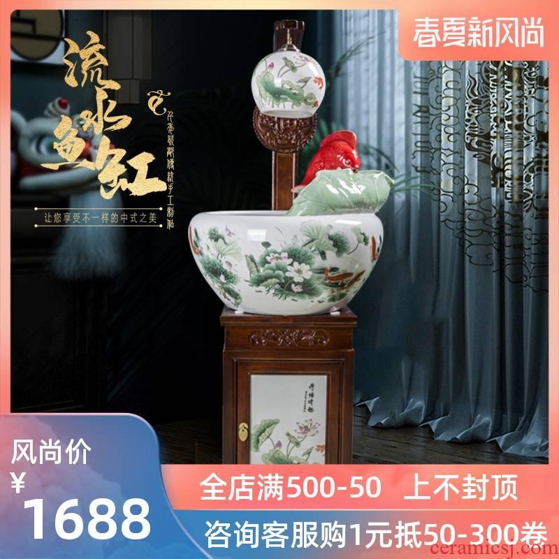 Jingdezhen ceramic filter home sitting room adornment aquariums circulating water feng shui plutus solid wood, hanging lamp