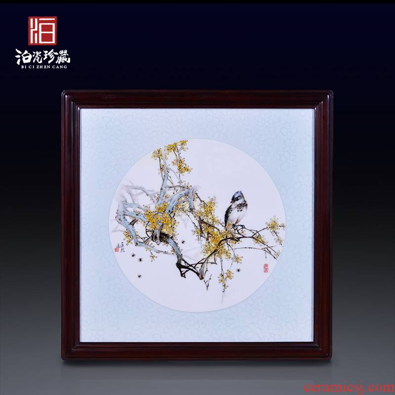 Jingdezhen ceramics hand - made wall decoration painting of flowers and new Chinese style household background porcelain plate painting the sitting room wall hanging furnishing articles