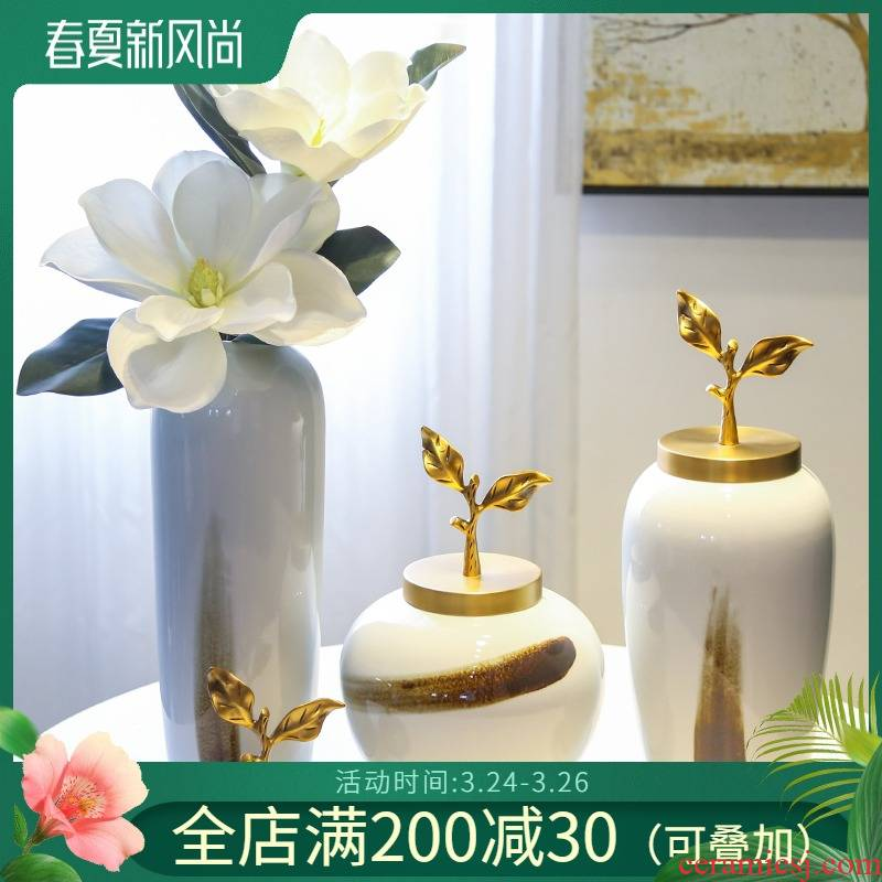 Jingdezhen sitting room porch mesa ceramic big furnishing articles of the new Chinese style decoration to the hotel villa clubhouse simulation flower vase