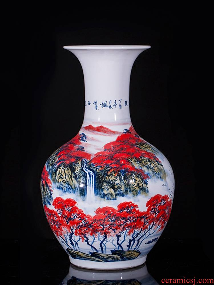 Jingdezhen ceramics famous hand - made the design hotel TV sitting room ark of large vases, furnishing articles large red