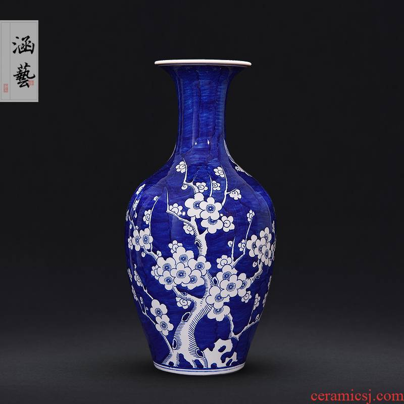 New Chinese style of jingdezhen blue and white mei expressions using wufu ceramics vase sitting room porch place flower decoration